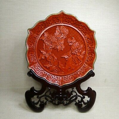Vintage Chinese plate Lacquer, 20th century. Plate in original box.