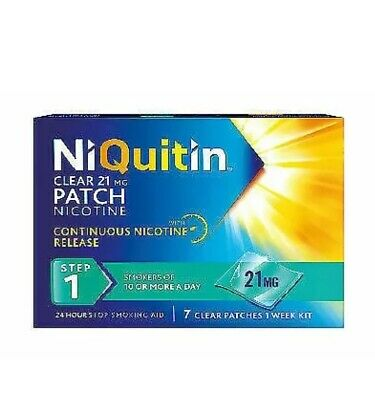 2x NiQuitin Clear Step 1, 21mg 24 Hour Patch 7 Day Supply