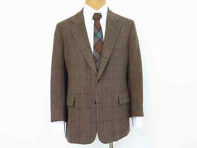 Brooks Brothers 3-Roll-2 Olive/Brown Camelhair Windowpane Sack Sport Coat, 43R
