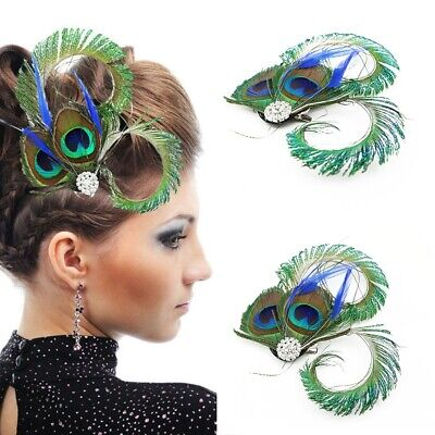 Vintage Peacock Feather Fascinator Wedding Party Hair Clip Gatsby Headpiece New