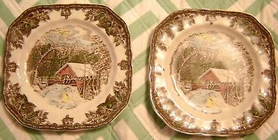 2 Johnson Brothers Friendly Village Square Salad or Luncheon Plates