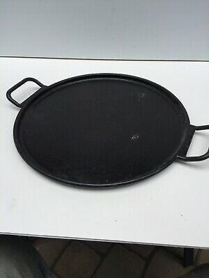 USED Large Lodge Cast Iron Pizza Pan Griddle Vintage Look Round Seasoned 15Inch