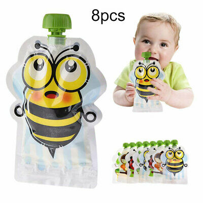 FM_ 8Pcs Reusable Baby Kids Food Pouch 8 Pack 150ml Bag Refillable Squeeze Pouch