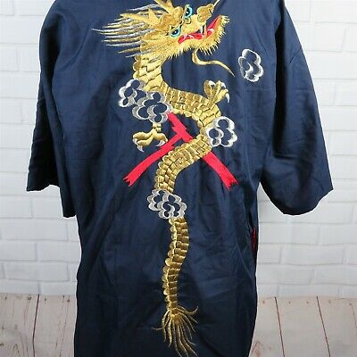 Vintage Japanese Kimono Embroidered Dragon Robe Blue Red Made in Japan