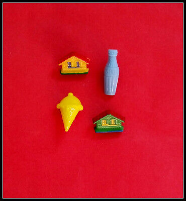 4 Novelty buttons- Ice cream cone/bottle/houses