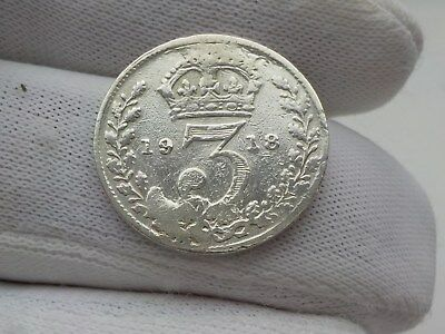 King George v 1918 silver 3 pence piece cleaned in good condition