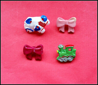 4 Novelty buttons-Car/Train/Bows