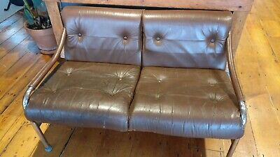 Vintage Retro Pieff 2 Seat Sofa, brown leather, 1970s mid century tubular steel