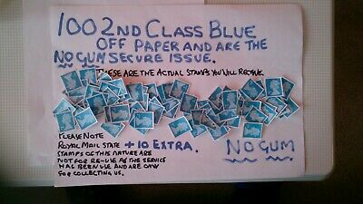100 Unfranked 2Nd Class Blue 2016 Cutout Stamps  , Off Paper Plus 10 Extra