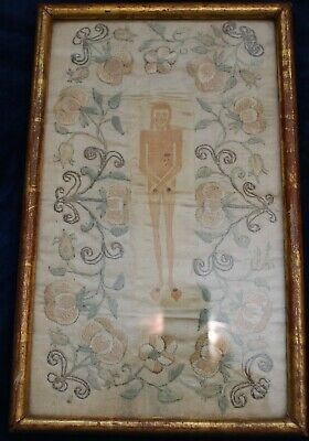 """Exquisite Small 11"""" Framed Antique Georgian Silk Embroidery Of Christ Provenance"""