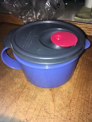 new TUPPERWARE CRYSTALWAVE SOUP MUG Microwave reheatable freezer safe blue