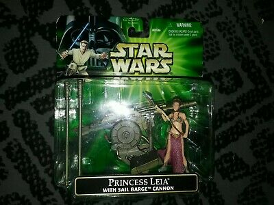 STAR WARS POWER OF THE JEDI PRINCESS LEIA w/ SAIL BARGE CANNON SEALED MOC