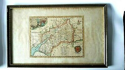 ORIGINAL FRAMED GENUINE ANTIQUE MAP OF GLOUCESTERSHIRE by T.KITCHiN c.1760 .