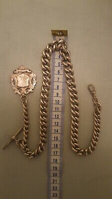 Heavy antique solid silver pocket watch albert chain & silver fob