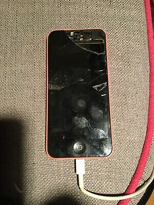 Apple Iphone 5c Coral Pink 8gb Cracked Screen Still Works O2