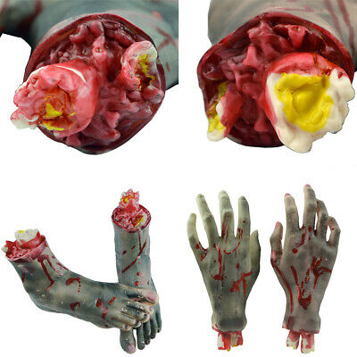 1 Pair Bloody Horror Scary Halloween Props Fake Severed Latex Hand Foot Decor US