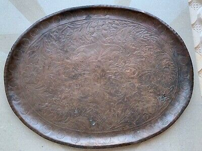 Large Heavy Antique Arts and Crafts oval Copper Tray flowers - Possibly Keswick