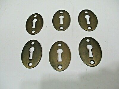 6 Vintage SOLID Brass Key Hole Escutcheon Covers Reclaimed Hardware CM28
