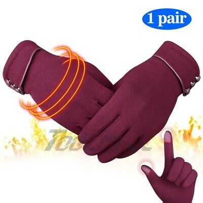 Women Winter Warm Gloves Windproof Cotton Wool Thermal Touch Screen Mittens Red