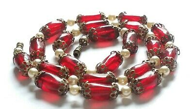 Czech Vintage Art Deco Ruby Red Glass Bead Necklace