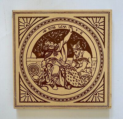 Lovely Original Antique MINTONS Tile Shakespeare King Lear Moyr Smith C1875