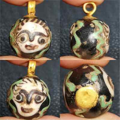 Old phoenician glass bead with 2 faces made as gold plate pendant    #28