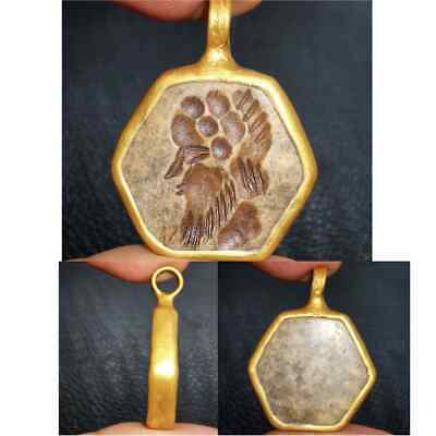 gold plated pendant with old intaglio face stone  #28