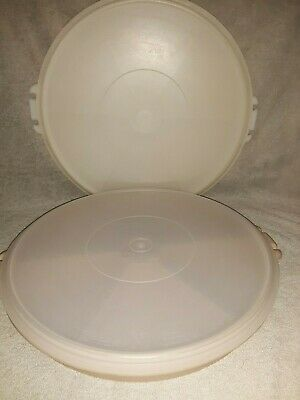 2-Vintage Tupperware Divided Serving Tray Dish-#405-9/405-2 With Lids EUC