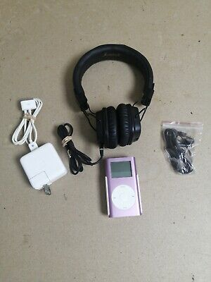 Pink Apple iPod Mini 2nd Generation 4GB A1051 MP3 Player and Marshall headphones