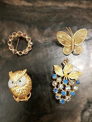 Vintage Job Lot 4 costume brooches - owl butterfly grapes circle