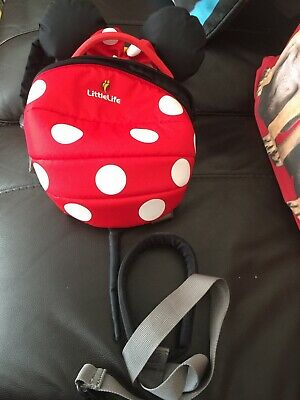 Little Life Minnie Mouse Reins Toddler Backpack Rucksack Safety Red