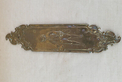 Thin Brass Door Plate Vintage Antique Reclaimed, Floral Theme, Man with Flower