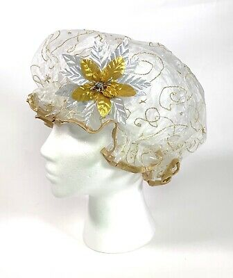 Fancy Shower Cap by Kingsley Gold Glitter Swirl NEW