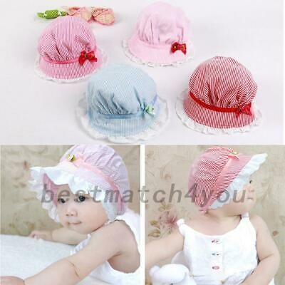 Hot Kids Baby Boys Hat Toddler Cap Stretchy Cotton Summer Lace Up Striped Cap AU