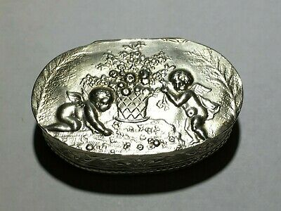 Antique Sterling Silver Angelic Snuff Pill Box - Hallmarked
