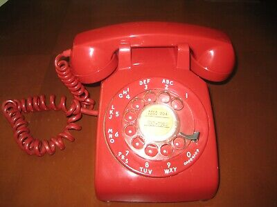 Vintage Red Rotary Dial Desk Telephone 1968