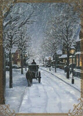 Modern Wide Linen Xmas P16 Carriage In Snow Swap Playing Card