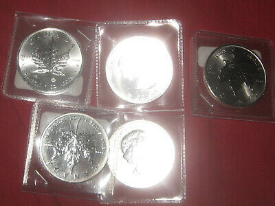 FIVE (5) 2015 ,1 oz Canadian Silver Maple Leaf Coin 1 Troy Ounce of Silver. BU