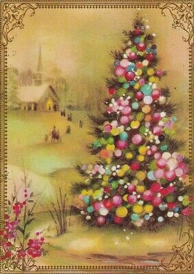 Modern Wide Linen Xmas P15 Colourful Christmas Tree Swap Playing Card