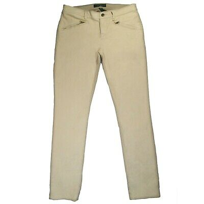 Lauren Ralph Lauren Womens 8 Straight Leg Tan Cotton Stretch Pants Zip Pocket