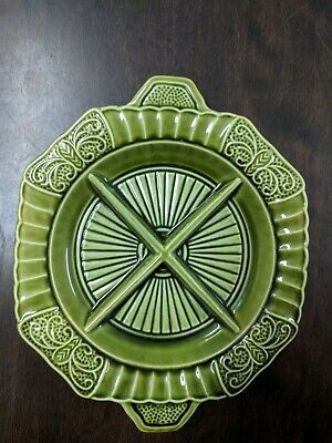 California Pottery Green Four Divided Relish Condiment Candy Bowl Dish 3700 USA.