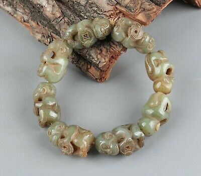 Chinese Exquisite Hand-carved monkey Carving Hetian jade Bracelet