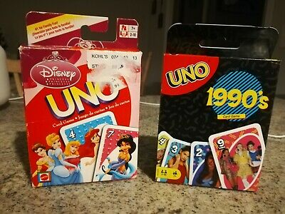 UNO Card Game Lot (2 Decks) Disney Princess (EUC) +  1990s (New)