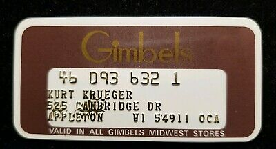 Gimbels Midwest Stores Charge card♡Free Shipping♡cc272♡ Princess Size