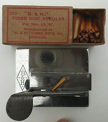 Box 250 Vtg 1907 B & H + CUTTER ~  FIBRE DISC NEEDLES ~ for PHONOGRAPH ~ Chicago