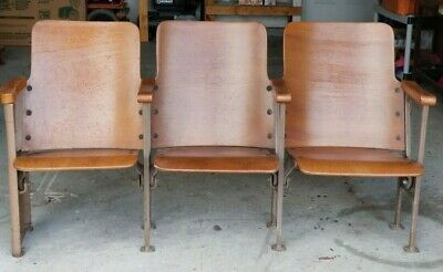 1930's~VTG Folding Theater Seats Wood and Cast Iron 3 Chairs together