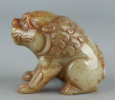 Chinese Exquisite Hand-carved beast Carving Hetian jade statue