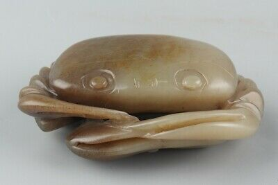 Chinese Exquisite Hand-carved crab Carving Hetian jade statue