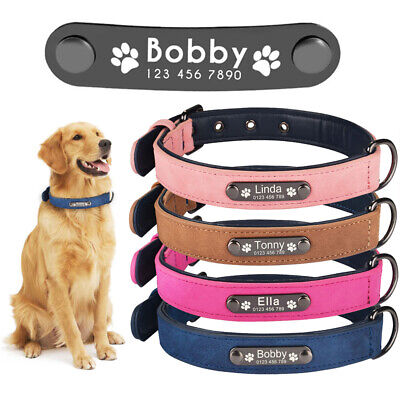 Leather Dog Collar Personalized Custom Engraved Name ID Tag Small Medium Large