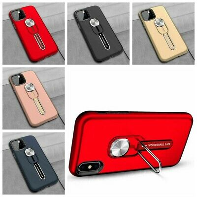 For iPhone 11 Pro Max Magnetic Finger Ring Holder Stand Armor Hard Case Cover aa